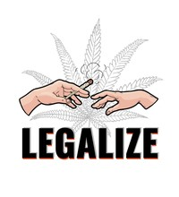 Vector Illustration Of Two Human Hands With Marijuana Rolled Cigarette With Smoke Isolated On White Background With Cannabis Leaf And Legalize Sign In Vector Illustration.