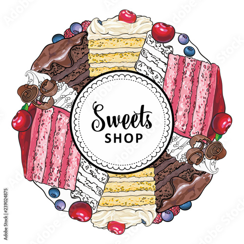Vector sweets shop brand logo, signage background or poster