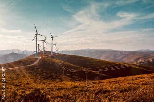 Obraz na plátně  Wind turbines on beautiful sunny summer autumn mountain landsape