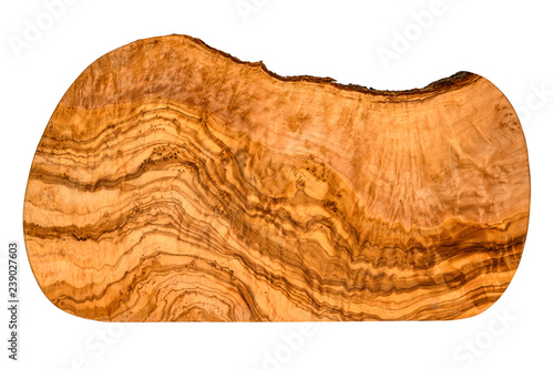 Fotografie, Obraz  Top view of an olive wood serving and cutting board with vivid wood grain pattern isolated on white