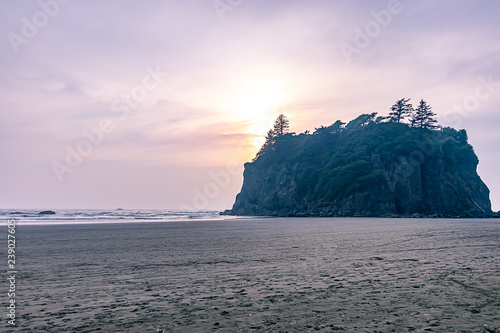 large forested sea stack in washington with soft sunset