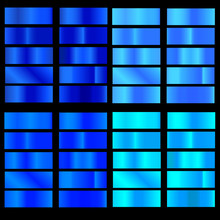 Blue Gradient. Collection Of Colorful Gradients With  Glossy Metal Texture For Design Of Covers, Banners, Posters And Other Creative Projects.