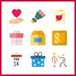 9 valentine icon. Vector illustration valentine set. love and box icons for valentine works