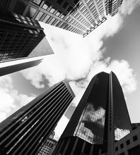 Tall Skyscrapers In Downtwon San Francisco In Black And White Effect