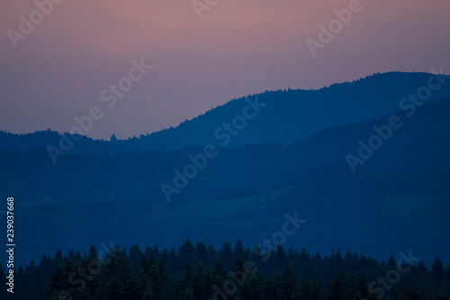 Aluminium Prints Blue sky Beautiful scenery with forest, mountains and clear sky