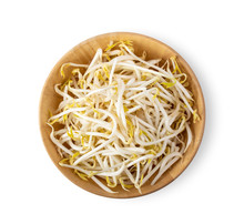 Beansprout In Wood Bowl Isolated On White Background