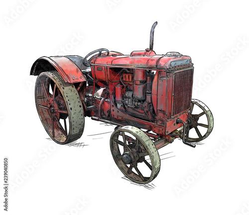 Stara rocznik czerwona ciągnikowa ilustracja w kreskówki lub komiczki stylu. Ciągnik został wyprodukowany w Chicago, Illinois, Stanach Zjednoczonych lub USA w latach 1938–1939 lub 30-tych.