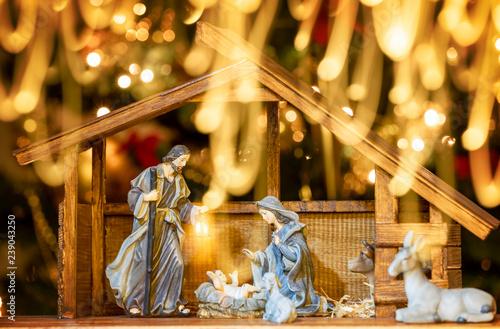 Fotografie, Obraz  Christmas Manger scene with figurines