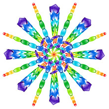 Rainbow Glass Beads Pinwheel