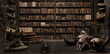 canvas print picture - the wizard's room with library, old books, potion, and scary things 3d render 3d illustration