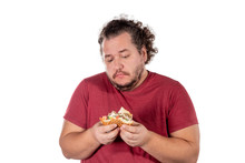 Sad Fat Man Eating Burger. Fas...