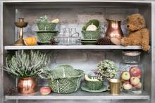 Vintage Shelf With Antiques, D...