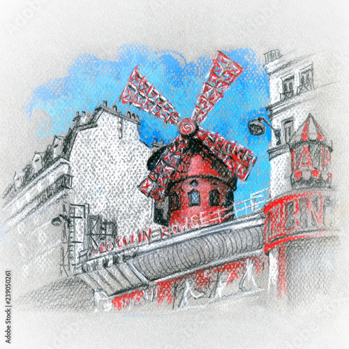 Moulin Rouge in Paris, France Wallpaper Mural