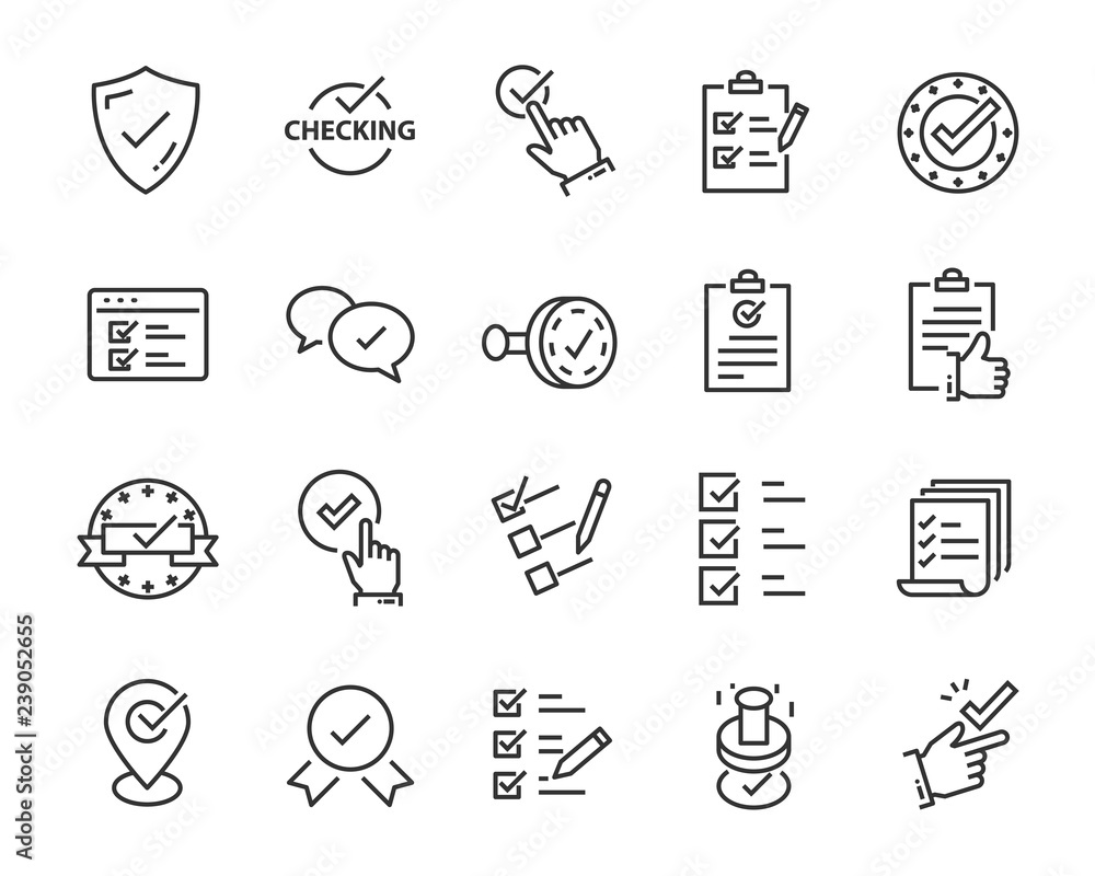 Fototapeta set of checkmark vector line icons, contains such as check, document and more