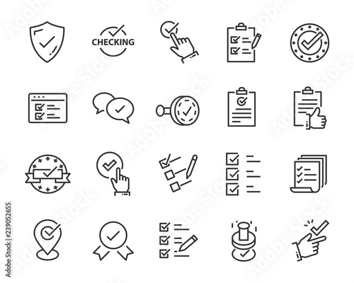 Obraz set of checkmark vector line icons, contains such as check, document and more - fototapety do salonu