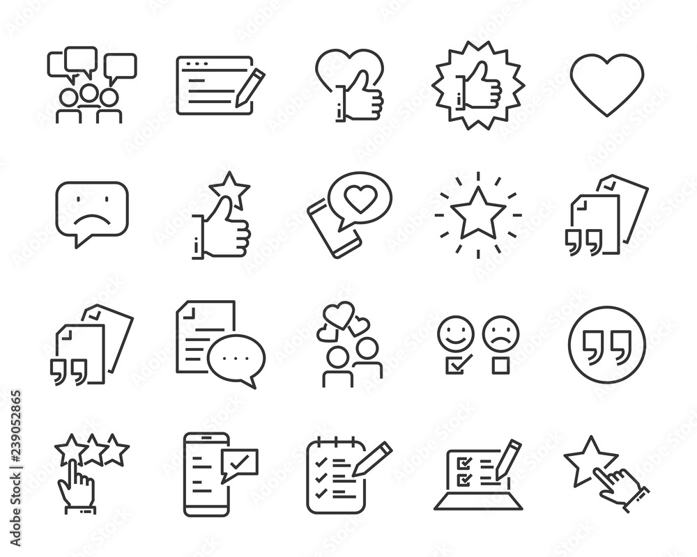 Fototapeta set of feedback line icons, such as, question, review, test, app, emoji, survey