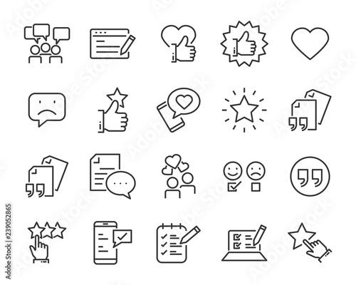 Cuadros en Lienzo  set of feedback line icons, such as, question, review, test, app, emoji, survey