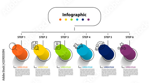 infographic element design 6 step, infochart planning Canvas Print