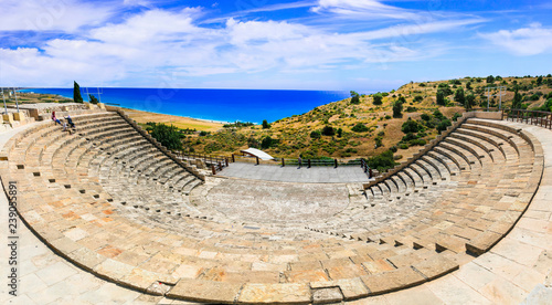Photo Stands Cyprus Curium Ancient Theater, (Kourion) - antique landmarks of Cyprus