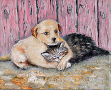 Oil Painting On Canvas Friendship Of Kitten And Puppy. Hand Drawn Love Of Little Fluffy Kitten And Labrador Puppy On The Background Of Pink Wooden Fence. BFF Pet. Cat Sleeping In The Paws Of A Dog