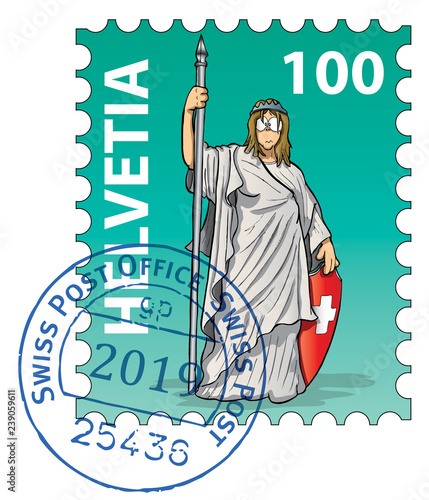 Fotografia, Obraz Swiss stamp collection: Helvetia