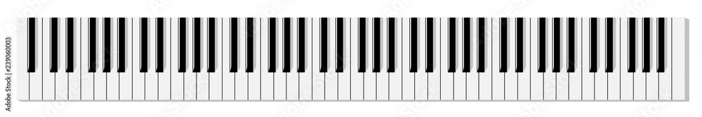 Widok z góry uproszczonej płaskiej monochromatycznej klawiatury fortepianu.