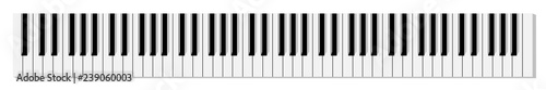 Photo Top view of simplified flat monochrome piano keyboard.