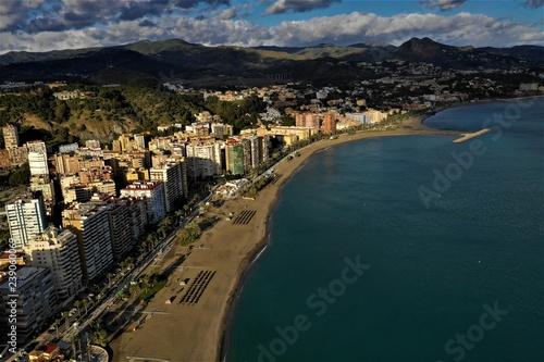 Poster Montagne Malaga aus der Luft