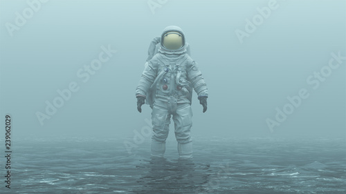 Photographie Astronaut with Gold Visor Standing in Water in a Foggy Overcast Environment 3d i