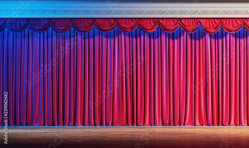 Interior of the theater with red velvet curtains  3d