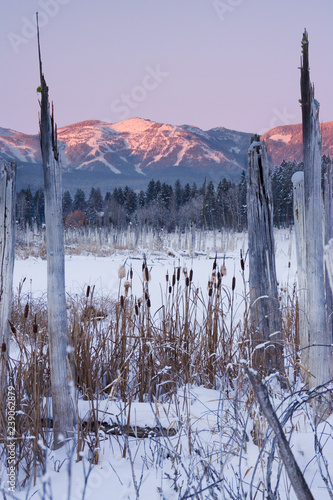 Photo  Winter Mountain Alpenglow