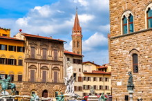 Signoria Square In Center Of Florence, Italy