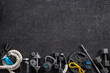 canvas print picture - Sports equipment on a black background. Top view. Motivation
