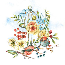 Cute Watercolor Natural Floral Greeting Card With Birds, White Rose, Wildflowers, Berries, Leaves And Cage