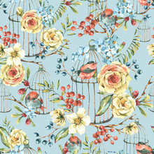 Cute Watercolor Natural Floral Seamless Pattern With Birds, White Rose, Wildflowers, Berries, Leaves And Cage