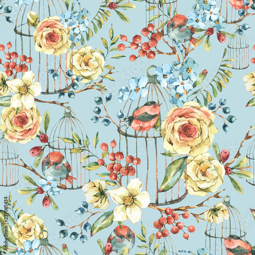 Leinwandbilder - Cute watercolor natural floral seamless pattern with birds, white rose, wildflowers, berries, leaves and cage