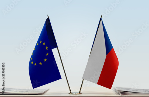 Photo  Flags of European Union and Czech Republic