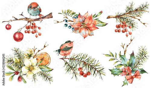 Leinwandbilder - Watercolor set of vintage floral New Year decoration with poinsettia, pine branches, holly, Christmas balls, birds