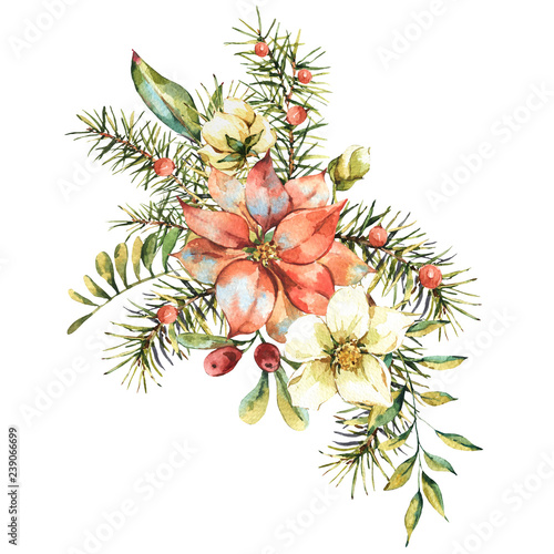 Leinwandbilder - Watercolor vintage floral greeting card, New year decoration with poinsettia, pine branches, red berries