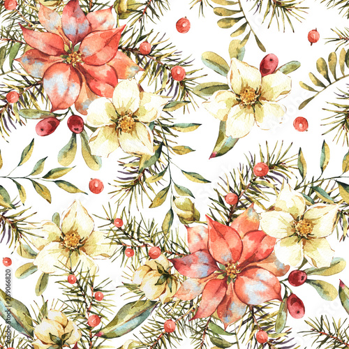 Leinwandbilder - Watercolor vintage floral seamless pattern, New year decoration with poinsettia, pine branches, red berries