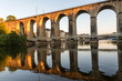 Bridge.Banks of the Mayenne river, City of Laval, Mayenne, Pays de Loire, France. August 5, 2018