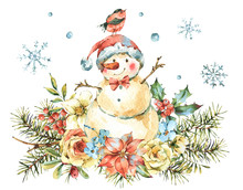 Winter Watercolor Christmas Greeting Card With Cute Sowman, Flowers, Birds, Holly, Rose, Berries, Poinsettia.