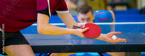 close up service on table tennis Fototapet