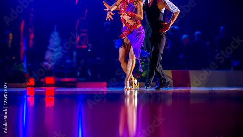 Tuinposter Dance School woman and man dancer latino international dancing