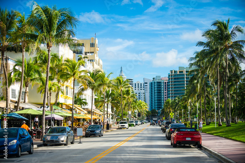 Fototapeta Scenic morning view of a beachside street in Florida, USA