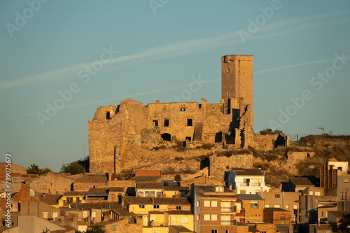 Ruins of the medieval castle of Ciutadilla, on the cistercian route, Urgel comar Canvas Print