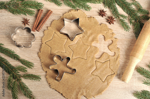 Cooking Christmas Cookies Dough And Cookie Cutters Spruce Branches
