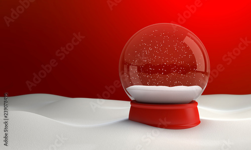 Snow globe at night in the snow in the winter. 3D illustration #239078495