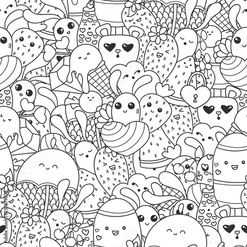 Doodles Seamless Pattern With Ice Cream Sweets And Kawaii