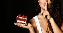 Young Woman Chef Cook Holding Sweet Piece Cake With Strawberry Blueberry And Cream Show Quiet Shhh Sign